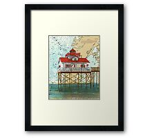 Old Plantation Flats Lighthouse VA Nautical Map Cathy Peek Framed Print