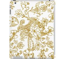Chic gold faux glitter hand drawn floral pattern iPad Case/Skin