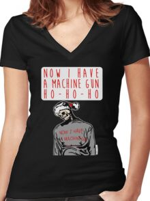 Ho-Ho-Ho Die Hard Christmas Women's Fitted V-Neck T-Shirt