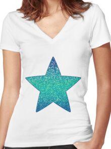 Glitter Graphic Women's Fitted V-Neck T-Shirt