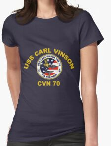 USS Carl Vinson (CVN-70) Crest for Dark Colors Womens Fitted T-Shirt