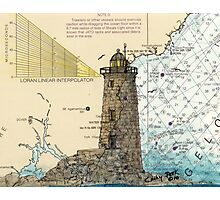 Whaleback Ledge Lighthouse ME Chart Cathy Peek Photographic Print