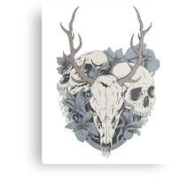 Skulls & flowers Metal Print
