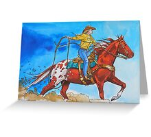 She Ropes Cattle! Greeting Card