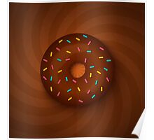 chocolate donut on hypnotic background Poster