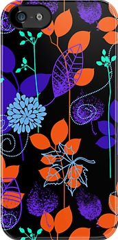 Foliage Indigo &amp; Orange [iPhone / iPod Case and Print] by Damienne Bingham