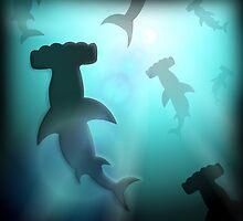 Underwater Hammerheads by Alienzombie13