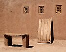 Three Windows, a Door and a Bench, Skoura Morocco by Debbie Pinard
