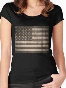 Vintage American Flag Women's Fitted Scoop T-Shirt