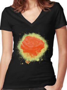 Vintage Red Rose Fine Art Tshirt Women's Fitted V-Neck T-Shirt