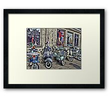 Mod scooters and 60s fashion Framed Print