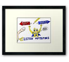Binary Options News Cartoon Euroman and the Greek Elections Framed Print