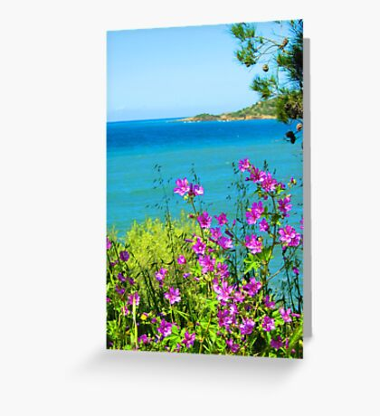 Purple Spray Above the Aegean Sea Greeting Card