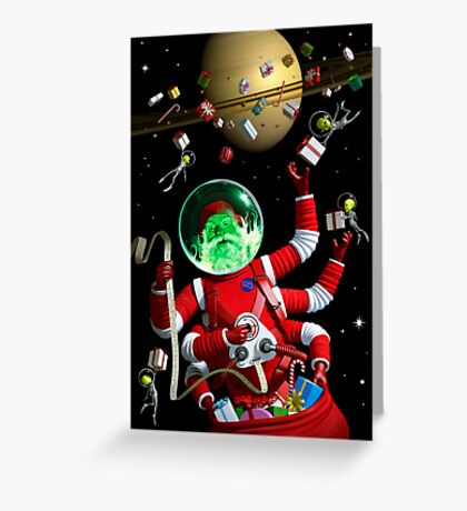 Santa in space Greeting Card