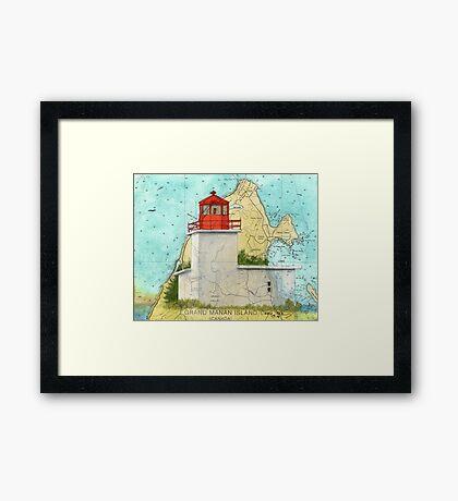 Long Eddy Pt Lighthouse NB Canada Map Cathy Peek Framed Print