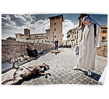 Nun and Dog Rome Italy Poster