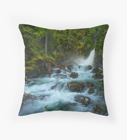 Flowing in the Forest Throw Pillow
