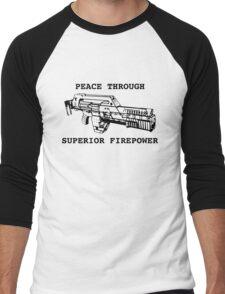 Peace Through Superior Firepower Men's Baseball ¾ T-Shirt