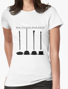 Real Villains Wear White Womens Fitted T-Shirt