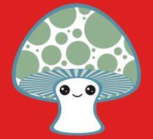 Green Polka Dotted Mushroom Kids Tee