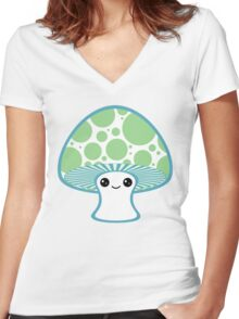 Green Polka Dotted Mushroom Women's Fitted V-Neck T-Shirt