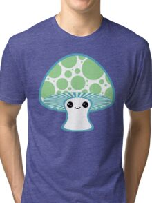 Green Polka Dotted Mushroom Tri-blend T-Shirt