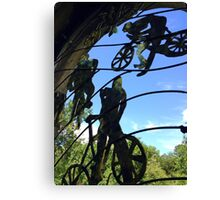 Mangotsfield station window grill, the cyclists Canvas Print
