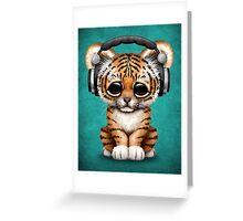 Cute Tiger Cub Dj Wearing Headphones on Blue Greeting Card