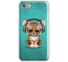 Cute Tiger Cub Dj Wearing Headphones on Blue iPhone Case/Skin