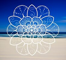White mandala flower on Bondi Beach  by faithie