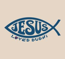 Jesus Loves Sushi - Blue on Creme by Koobooki