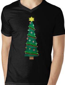 Pixel Christmas Tree Mens V-Neck T-Shirt