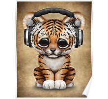 Cute Tiger Cub Dj Wearing Headphones  Poster