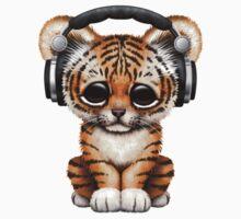 Cute Tiger Cub Dj Wearing Headphones  Kids Tee