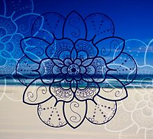 Blue mandala flower on Bondi Beach by faithie
