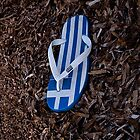 Greek flag on flipflop by shelfpublisher
