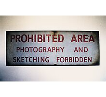 No Photography or Sketching  Photographic Print