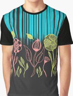 Hand Drawn Flower & Rain Scene Graphic T-Shirt