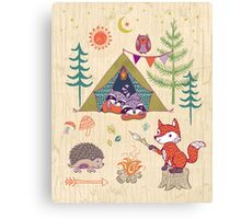 Racoons Campout Wood background Canvas Print