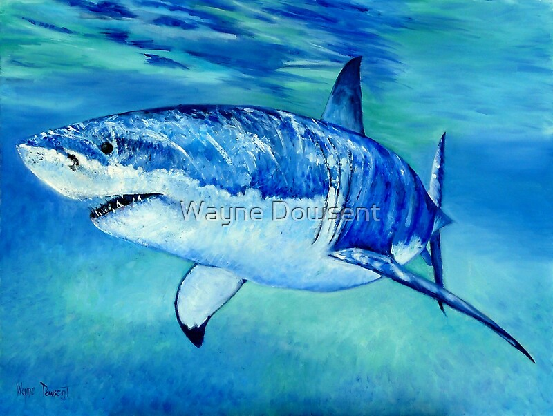 Great white shark by wayne dowsent redbubble for Little fairy door shark tank