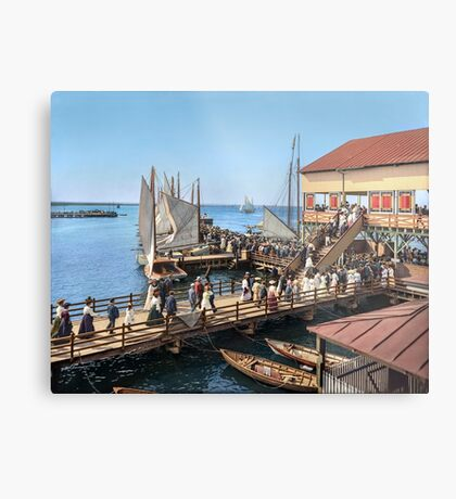 Pier at the inlet, Atlantic City, N.J. year 1904 Metal Print