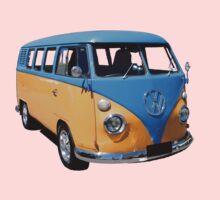 Orange and Blue Volkswagen Kombi Van Kids Tee