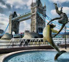 Girl with a Dolphin - Tower Bridge by PictureNZ