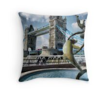 Girl with a Dolphin - Tower Bridge Throw Pillow