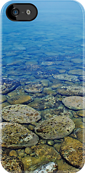 Greek peeble waterscape iphone case by shelfpublisher