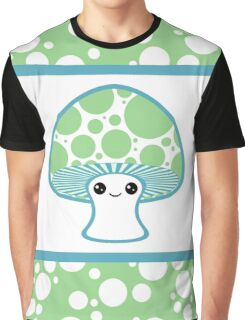 Green Polka Dotted Mushroom Graphic T-Shirt