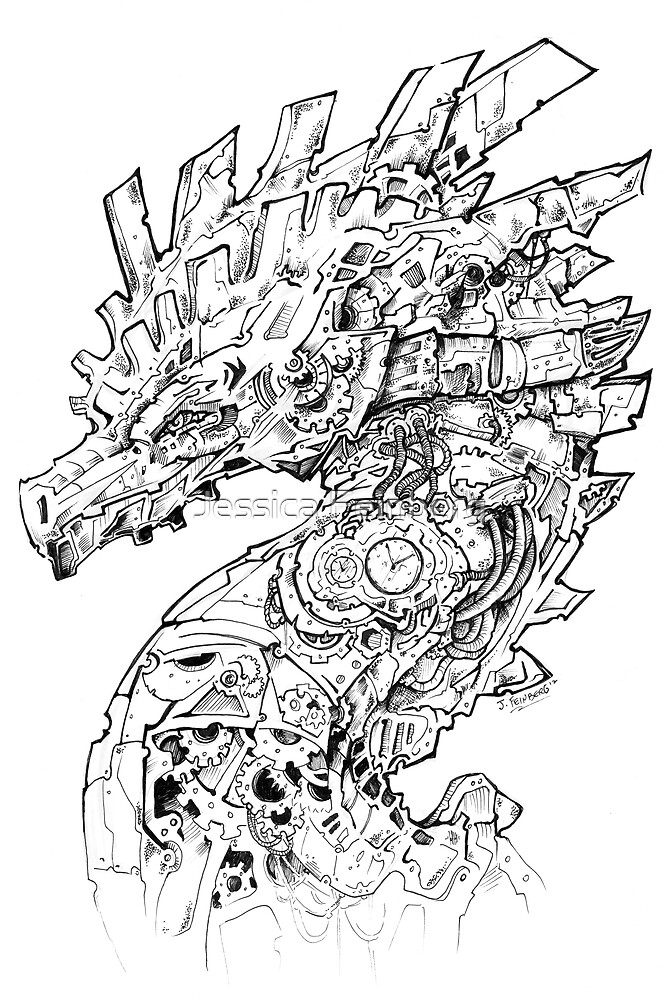 Clockwork Dragon BW II by Jessica Feinberg