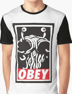 Flying Spaghetti Monster Obey Parody Graphic T-Shirt