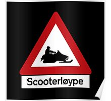 Scooter Track, Road Sign, Norway Poster