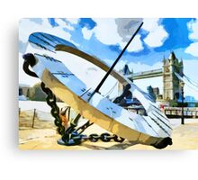 The Timepiece Sculpture + Tower bridge  Canvas Print